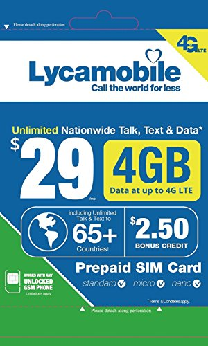 Lycamobile $29 Plan 1st Month Included SIM Card is Triple Cut Unlimited Natl Talk & Text to US and 65+ Countries 4GB Of 4G LTE