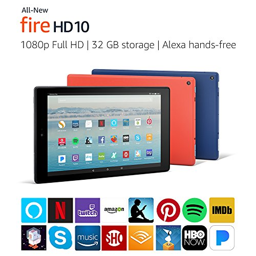 """Certified Refurbished Fire HD 10 Tablet with Alexa Hands-Free, 10.1"""" 1080p Full HD Display, 32 GB, Black - with Special Offers"""