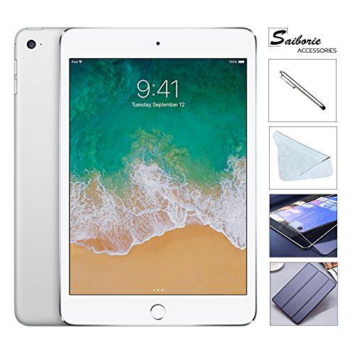 "Apple iPad Mini 4 128GB W/Saiborie 49.99 Value Accessories, 7.9"" Retina Display, 2GB RAM, Dual-Core A8 Chip, Quad-Core Graphics, Wi-Fi, MIMO, Bluetooth, Apple iOS 9 (Silver)"
