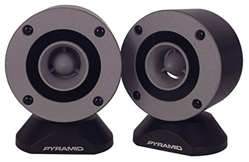 "300 Watt Marine Tweeter Speaker - 3.75"" Aluminum Bullet Horn w/ 1"" Titanium Dome Tweeter, 2k-25kHz Frequency Response, 4 Ohm Impedance, Heavy Duty 20 Oz. Magnet Structure - Pyramid TW28 (Pair)"