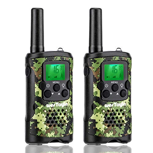 wesTayin Kids Walkie Talkies, Range Up to 4 Miles Long Range Walkie Talkies, 22 Channels with Crystal Sound, Walkie Talkies for Adults, 2 Pack (Green Camo)