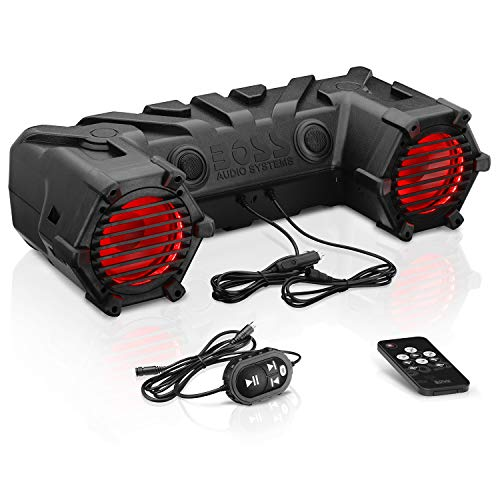 """Boss Audio ATV30BRGB All-Terrain Sound System - Two 6.5"""" Weatherproof ATV Speakers/Tweeters, Built-in Amplifier, Bluetooth Capable, Multi-Color Illumination, Ideal for ATV/UTV and 12 Volt Vehicles"""
