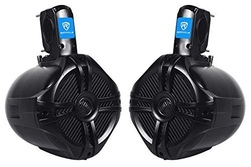 """Pair Rockville RWB65B 6.5"""" Black 2 Way 250 Watt Marine Wakeboard Tower Speakers"""