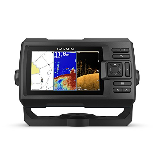 """Garmin Striker Plus 5cv with Transducer, 5"""" GPS Fishfinder with CHIRP Traditional and ClearVu Scanning Sonar Transducer and Built In Quickdraw Contours Mapping Software"""