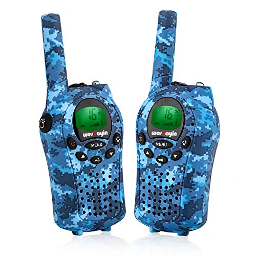 WesTayin Walkie Talkies for Kids, Range Up to 4 Mile with Vox-Hands Free, Green LCD Backlit with Flashlight, Kids Walkie Talkies Boys and Girls, 2 Pack (Blue Camo)