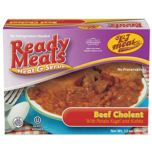 Kosher Meals Ready to Eat, Beef Cholent with Potato Kugel and Kishka (Microwavable, Shelf Stable, No Refrigeration) – Dairy Free - Glatt Kosher (12 ounce - Pack of 1)