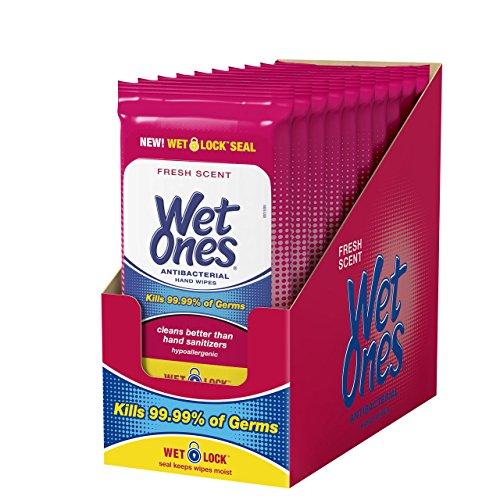 Wet Ones Antibacterial Hand Wipes, 20 Count (Pack Of 10)